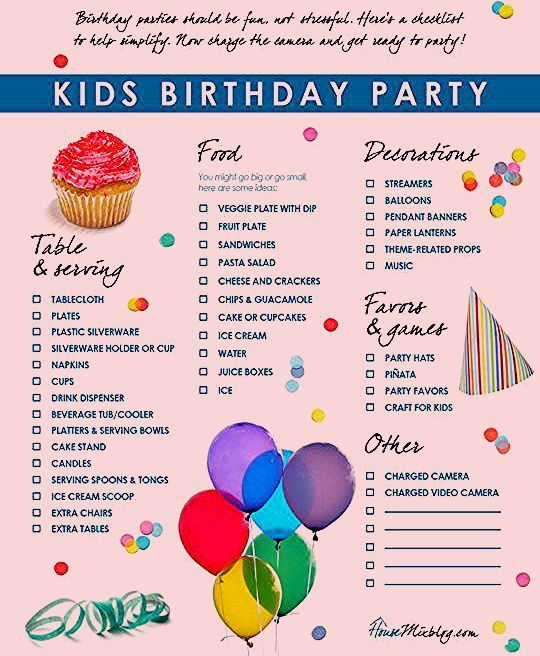 Photo of Kids birthday party checklist