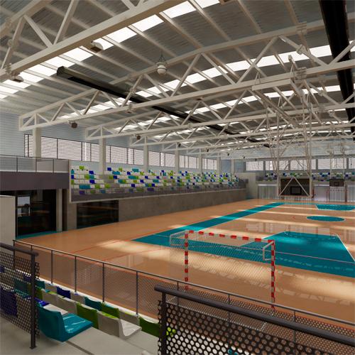 Polideportivo multifuncional con pistas exteriores for Mobiliario multifuncional tesis