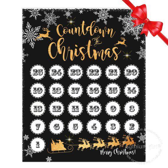 COUNTDOWN to CHRISTMAS Sign, Christmas Countdown Poster, Countdown