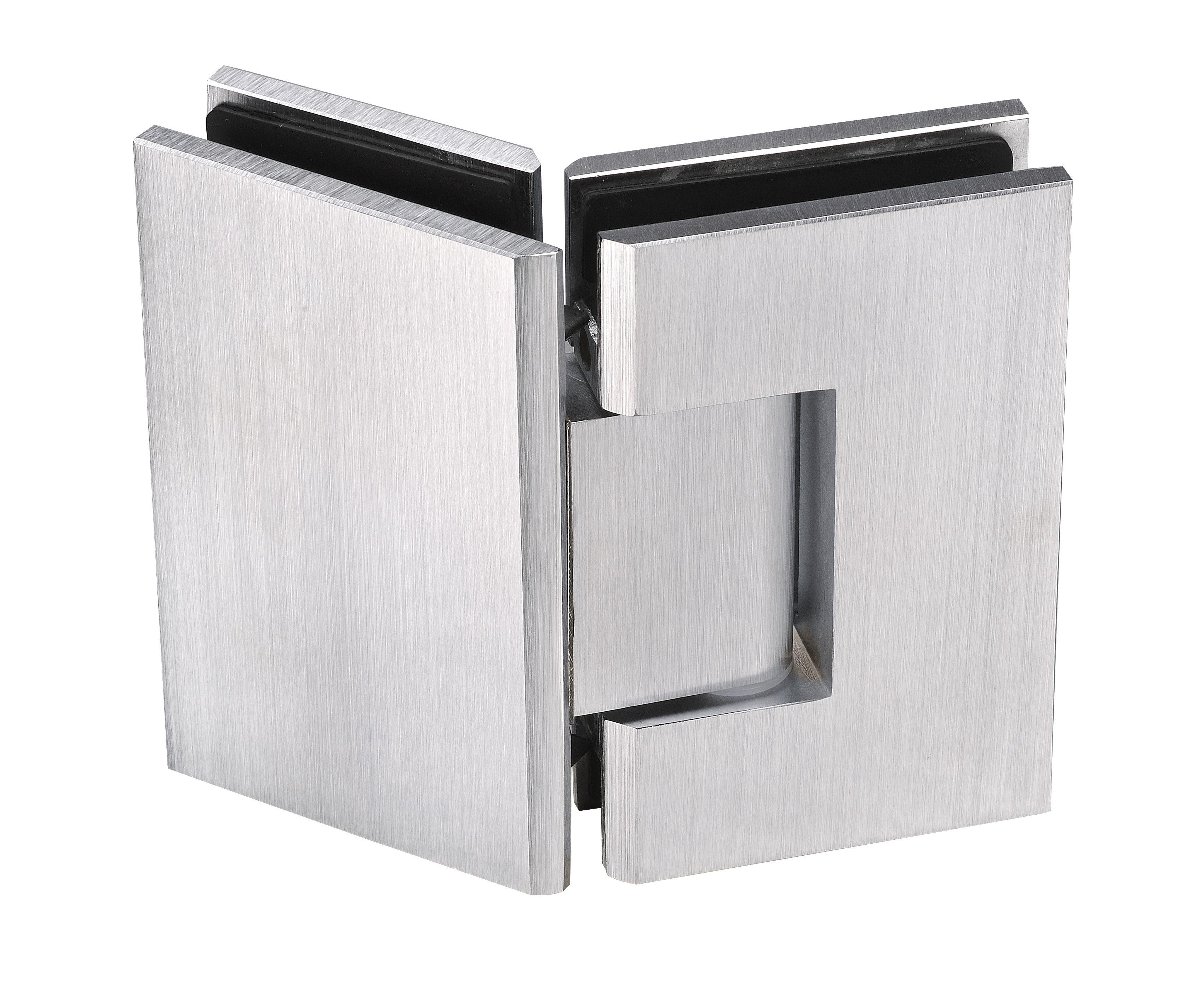Signature frameless glass hardware satin chrome finish. | Pivotech ...
