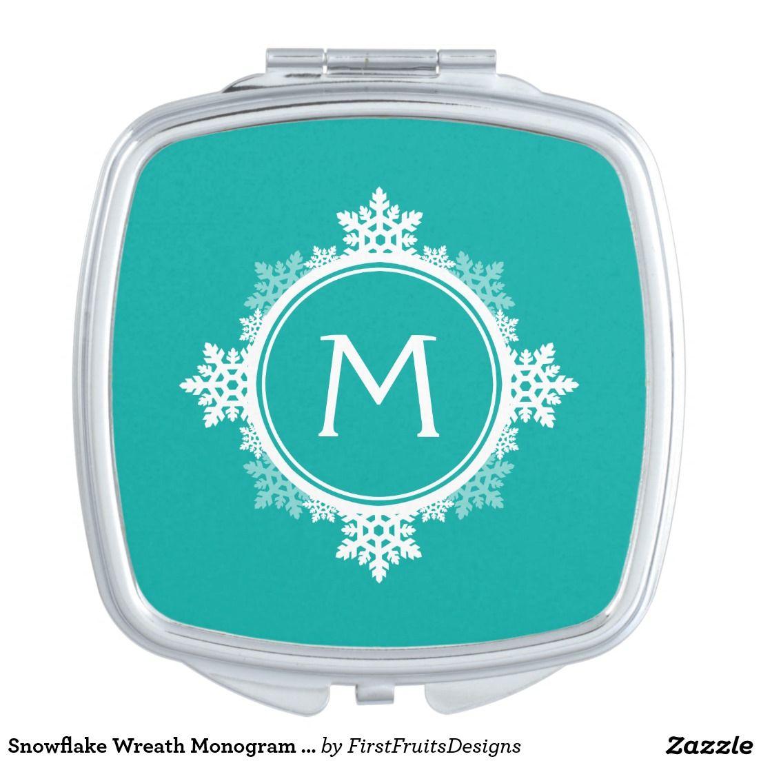 Snowflake Wreath Monogram in Teal Blue & White Mirror For Makeup