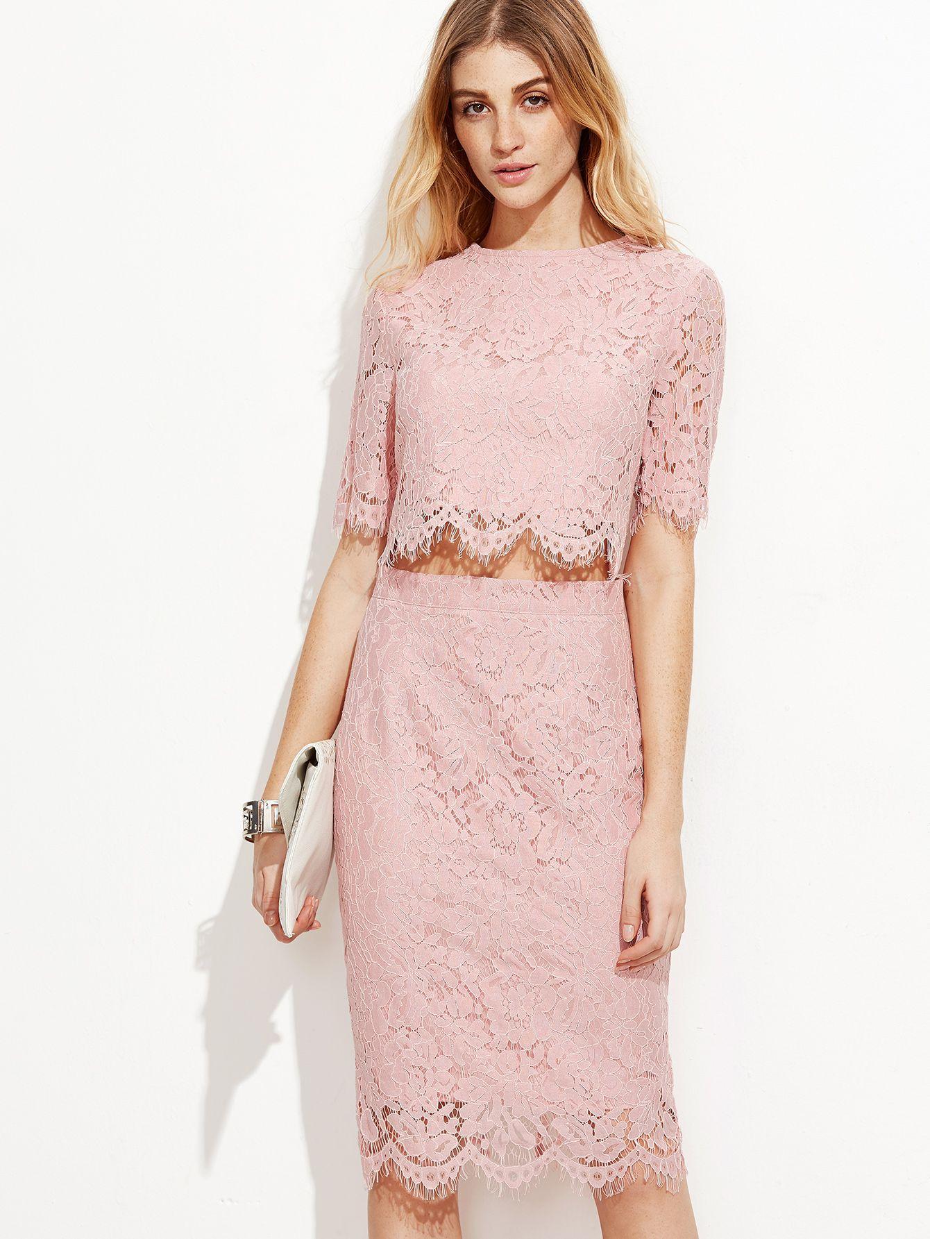 cc0de4d7ee8 Shop Pink Open Midriff Floral Lace Dress online. SheIn offers Pink ...