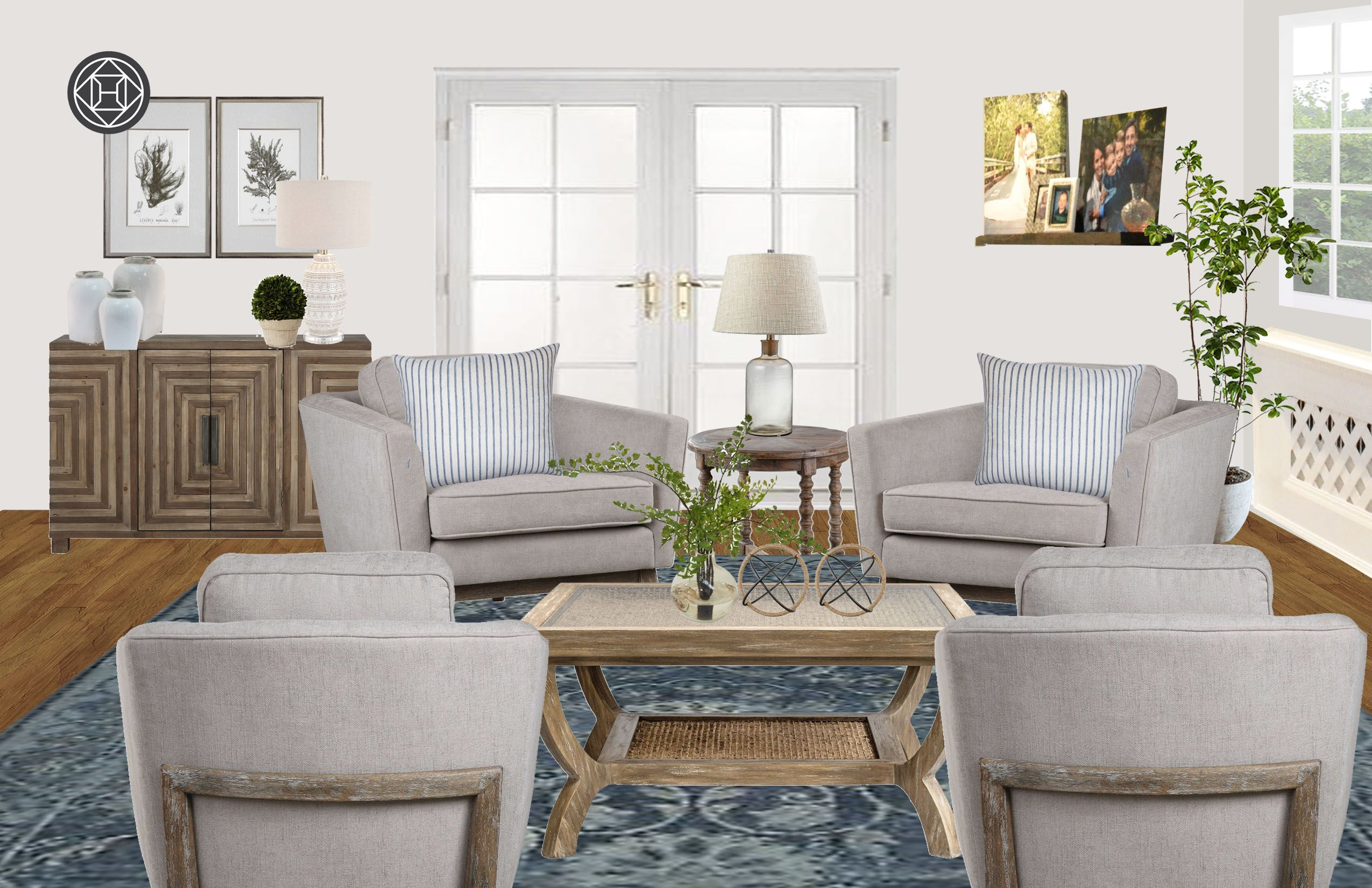 Coastal Traditional Preppy Living Room Design By Havenly
