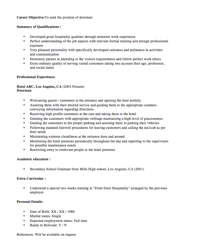 doorman resume sample new doorman resume sample 2016