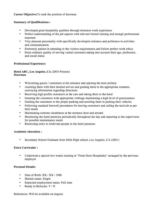 concierge doorman resume sample
