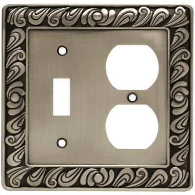 Liberty Pewter 2 Gang 1 Toggle 1 Duplex Wall Plate 1 Pack 64050 The Home Depot Plates On Wall Franklin Brass Switch Plate Covers