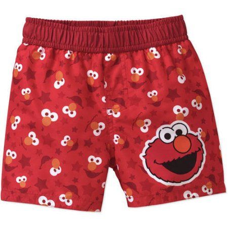 d62719f855 Sesame Street Newborn Baby Boys' Elmo Swim Trunks, Newborn Girl's, Size: 18  Months, Red