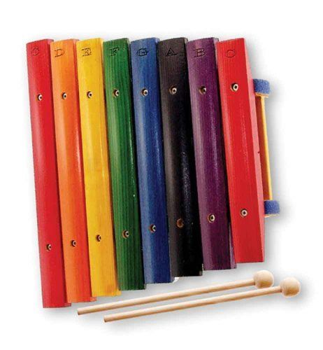 """Music Treasures Co. Wood Xylophone by Music Treasures Co.. $45.00. Learn to play by color! """"!!"""" Beautiful solid wood xylophones are handcrafted and tuned in Europe by experienced musicians. Each note is brilliantly stained to match the color on the song sheets (six songs are included). Since the music also shows the correct musical note on a staff, children actually learn music as they are playing. 8-Note 1-Octave , 6 learn-by-color song sheets included. Standard shipping o..."""