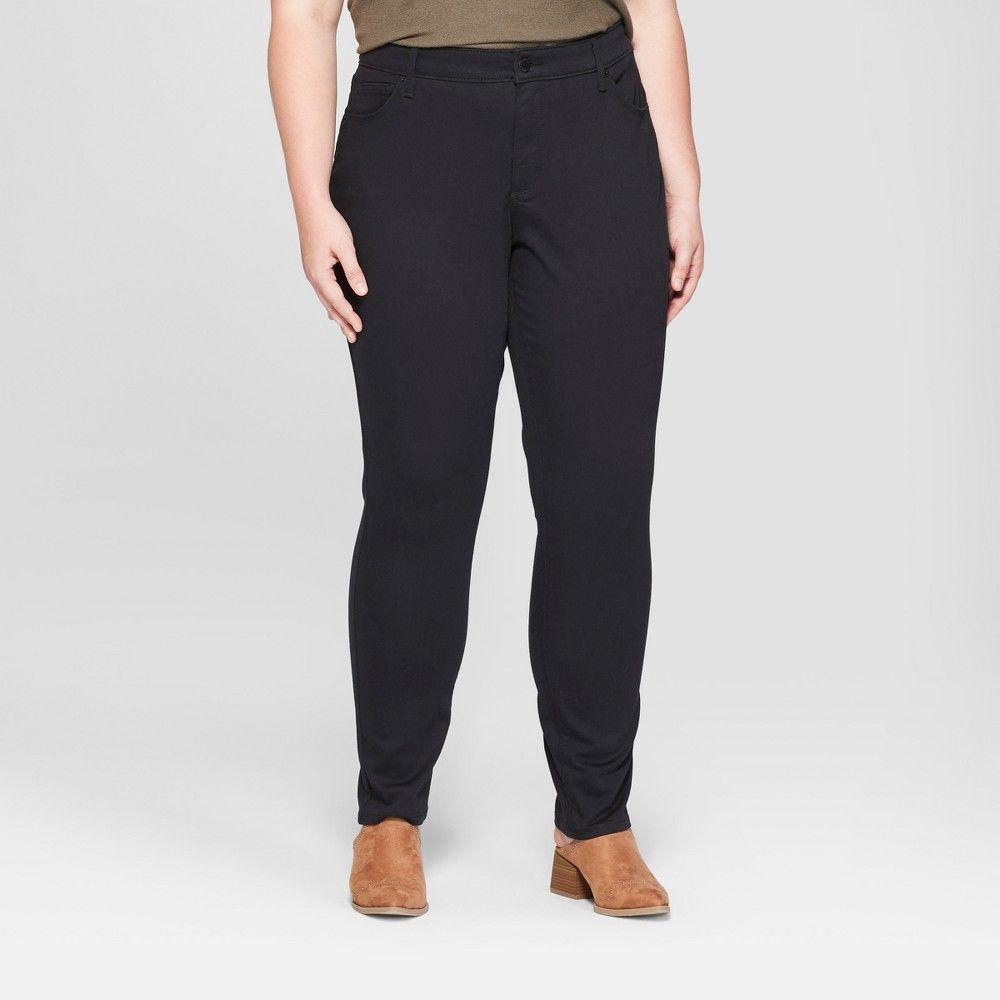 dbcba3d7a84 Women's Plus Size Mid-Rise Curvy Skinny Jeans - Universal Thread Black 26W
