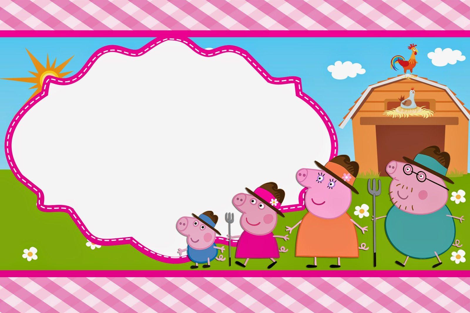 Peppa Pig en la Granja: Invitaciones para Imprimir Gratis. | Para ...