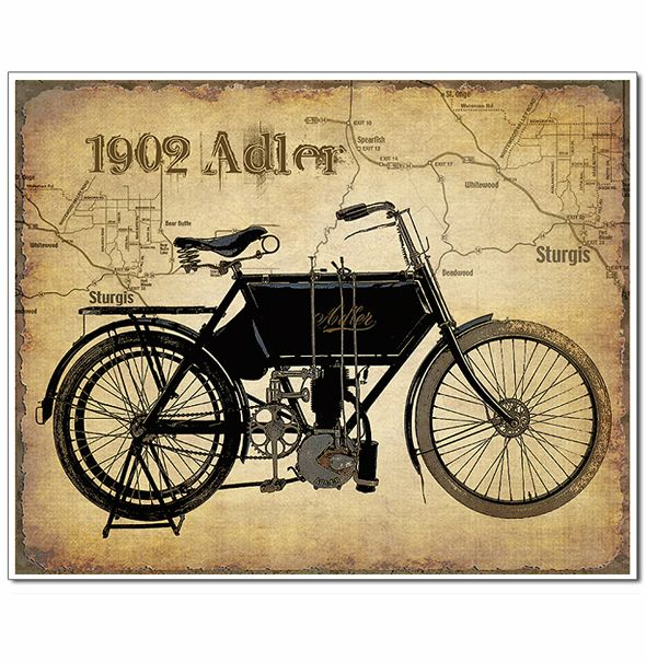 Rare Handcrafted Vintage Motorcycle Art Prints With Map Of Sturgis Artistically Added To The Backgro Vintage Motorcycle Art Motorcycle Art Print Motorcycle Art