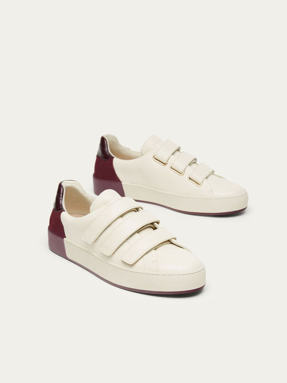 Fall Winter 2017 Women S Burgundy Sneakers With Leather Heel At Massimo Dutti For 79 5 Effortless Elegance Burgundy Sneakers Leather Heels Sneakers