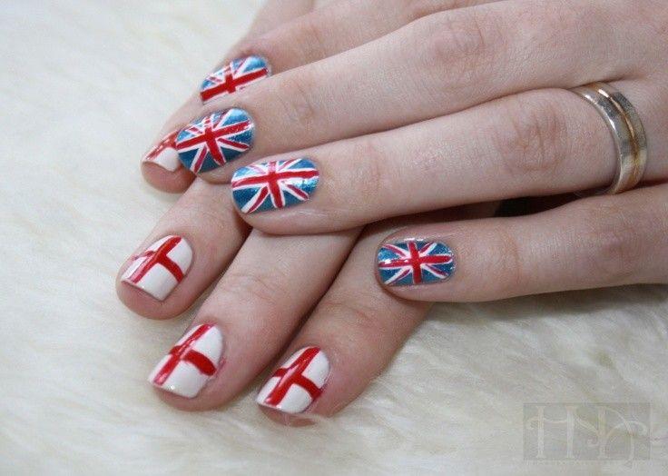 British And England Flag Nail Art For 2014 World Cup England Flag