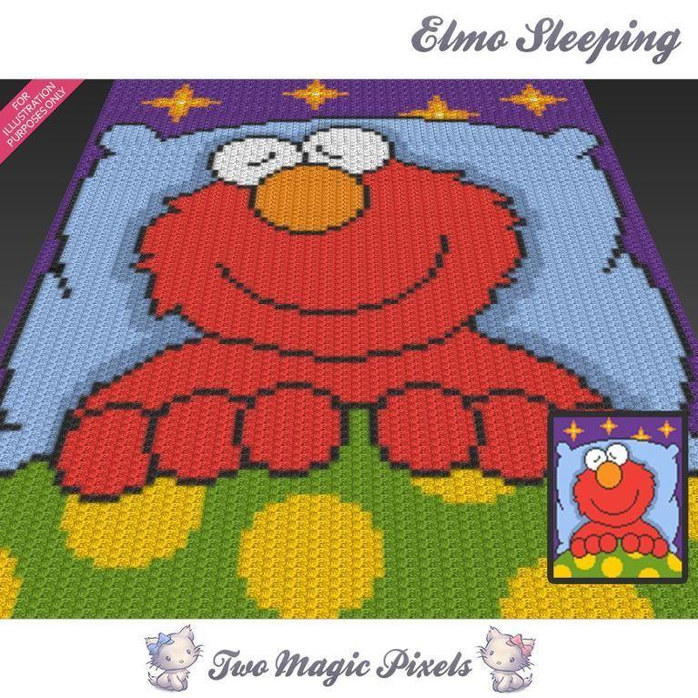 Elmo Sleeping C2C Crochet Graph   Manta, Colchas y Esquina
