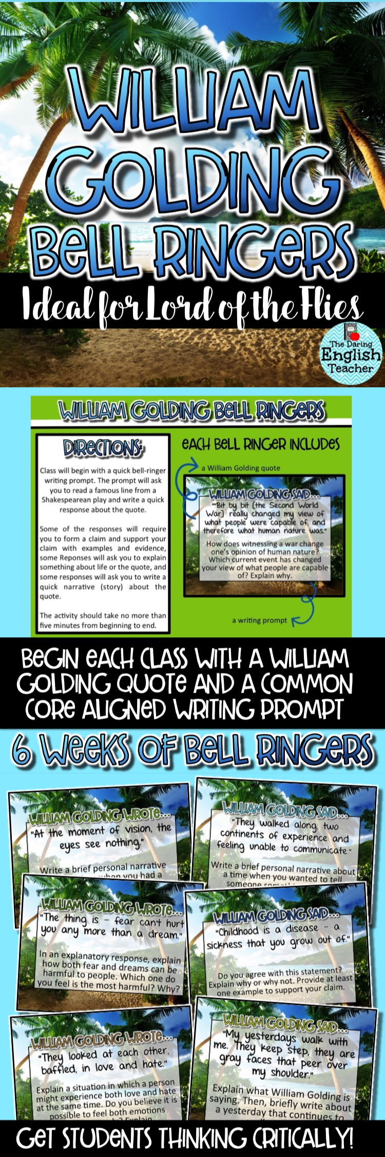 lord of the flies william golding common core bell ringers lord of the flies common core aligned bell ringers to get your students thinking critically