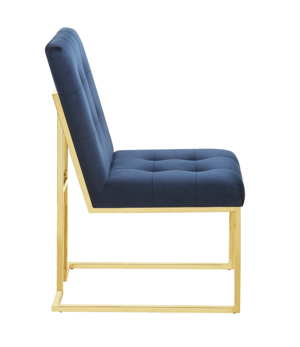 Modern Ink Blue And Gold Dining Chair Coaster Fine Furniture