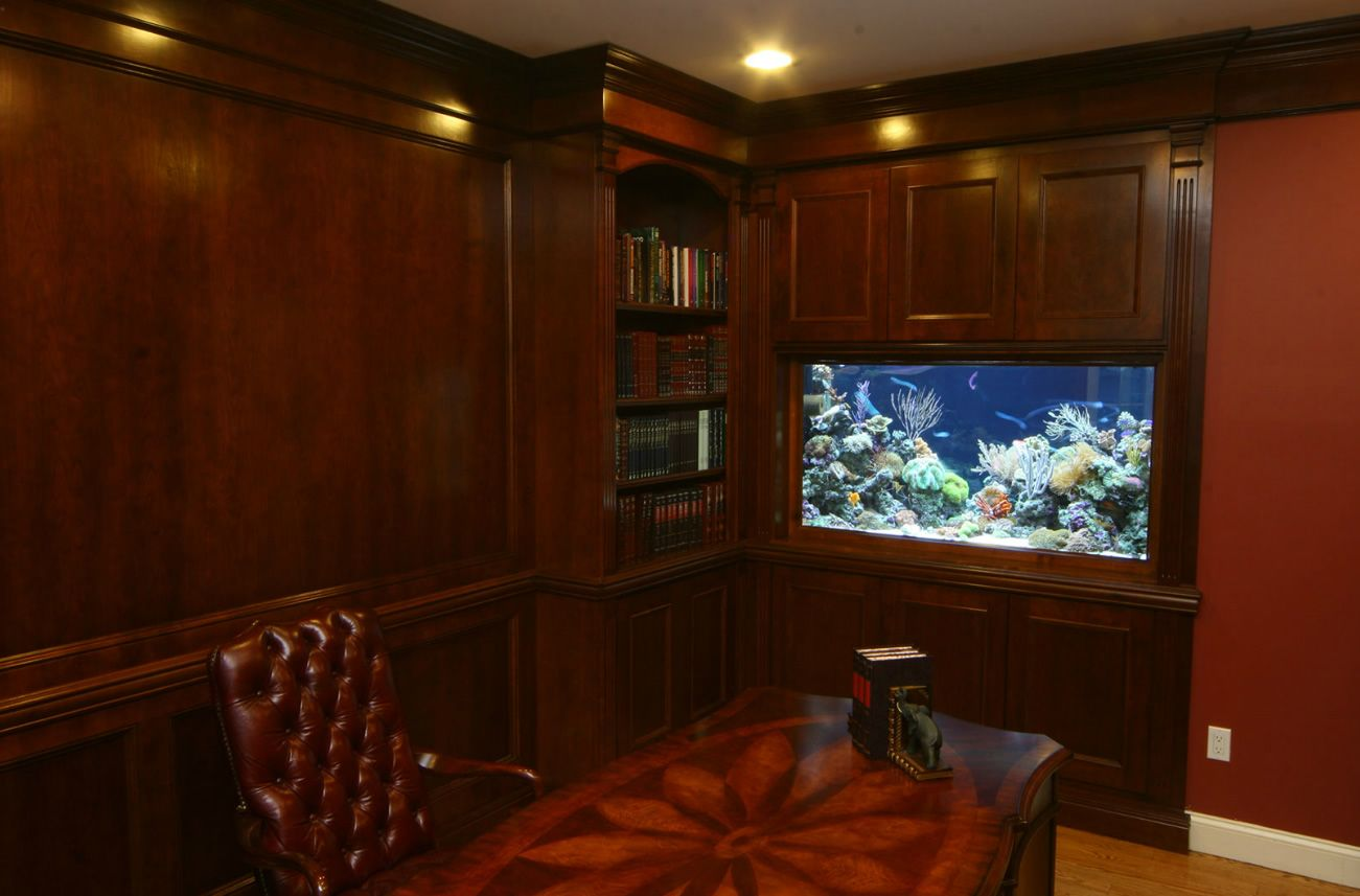 offices with aquarium | beautiful wall aquarium in a classic wood