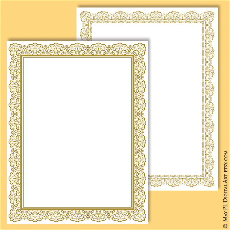 Page Border Gold Certificate Frame Clipart Create Your Own Etsy Frame Clipart Certificate Frames Clip Art