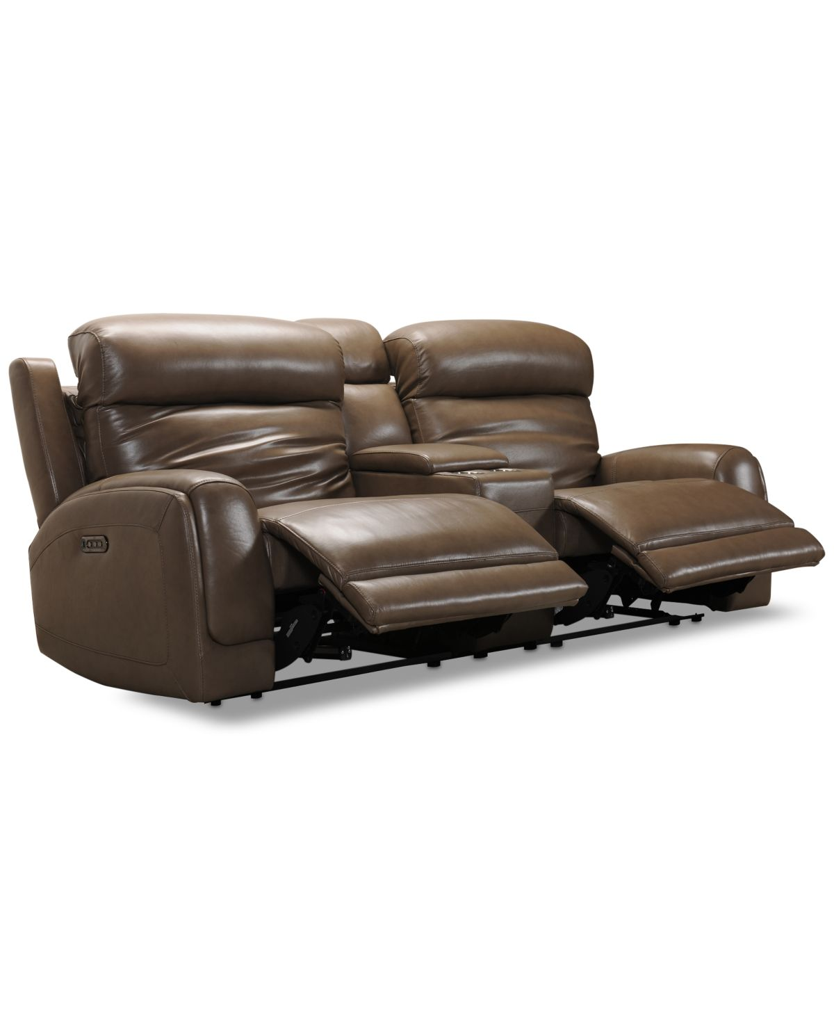 Winterton 95 3 Pc Leather Power Reclining Sofa With 2 Power Recliners Power Headrests Lumbar Console Usb Power Outlet Grey Reclining Sofa Sectional Sofa With Recliner Power Recliners