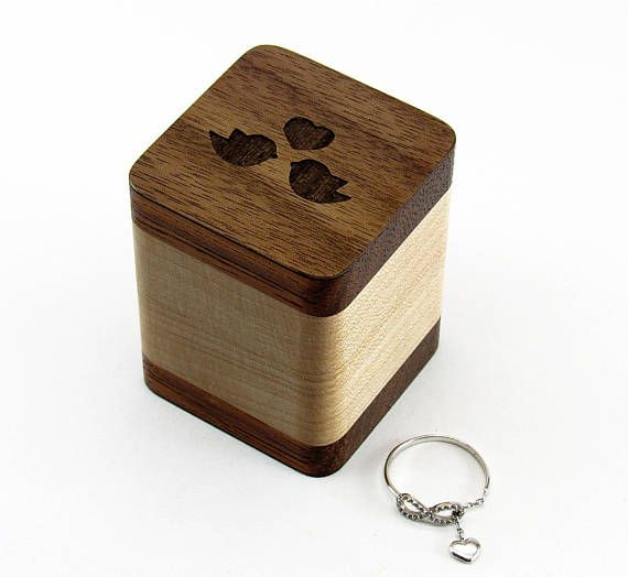 Rustic wooden ring holder Jewelry box Wooden ring box Wedding Ring