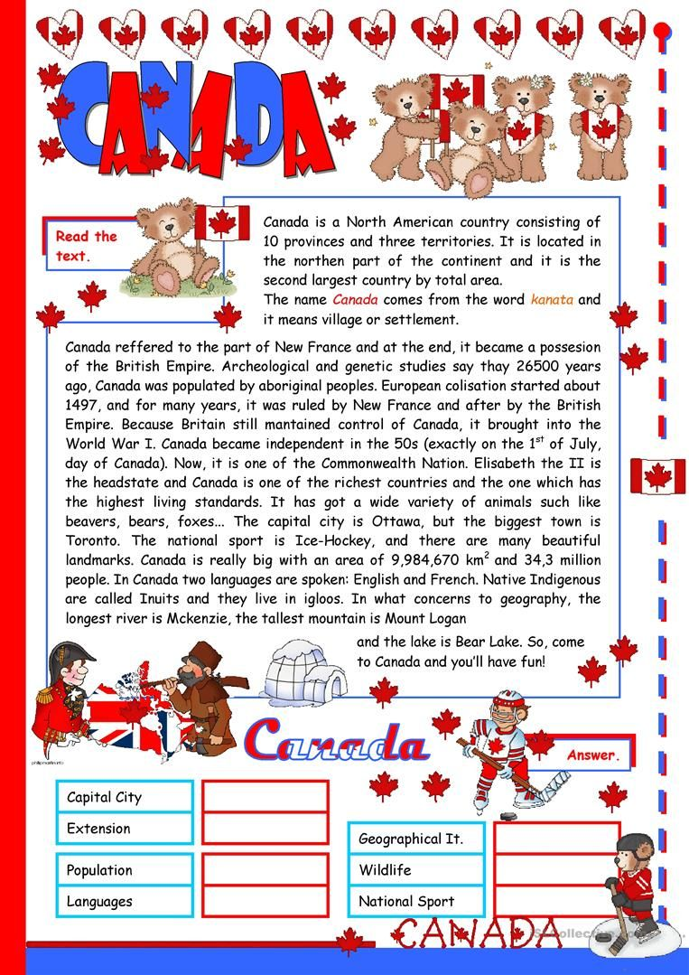 Canada English Esl Worksheets Reading Comprehension Worksheets Reading Comprehension Kids Math Worksheets