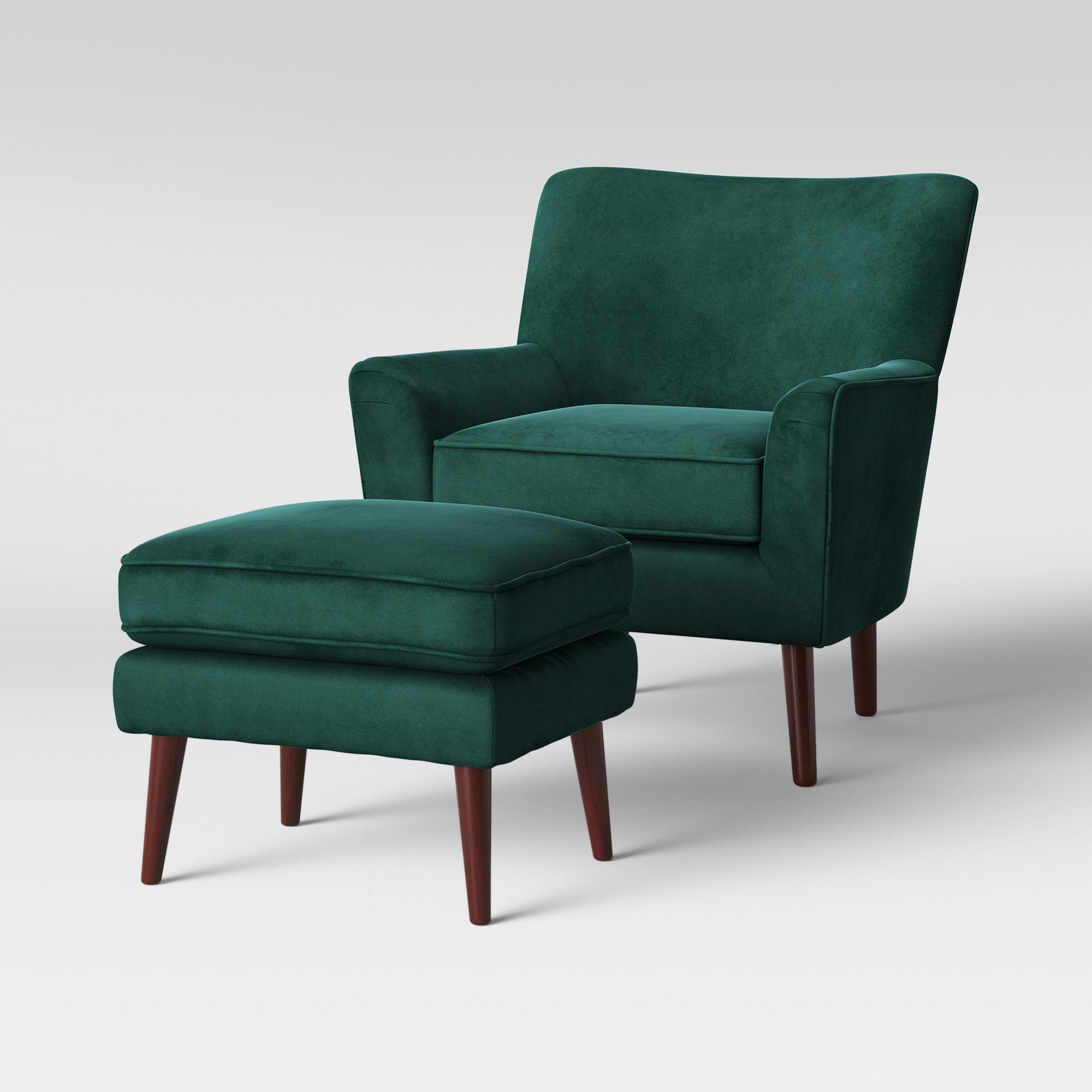 2pc Englund Chair And Ottoman Dark Green Velvet