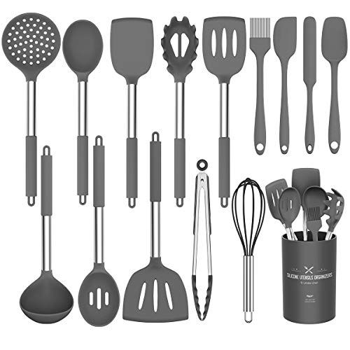 Umite Chef Kitchen Utensils Set, 15 pcs Silicone Cooking Kitchen Utensils Set, Heat Resistant Non-stick BPA-Free Silicone Stainless Steel Handle Turner Spatula Spoon Tongs Whisk Cookware (Grey) | All4Hiking.com