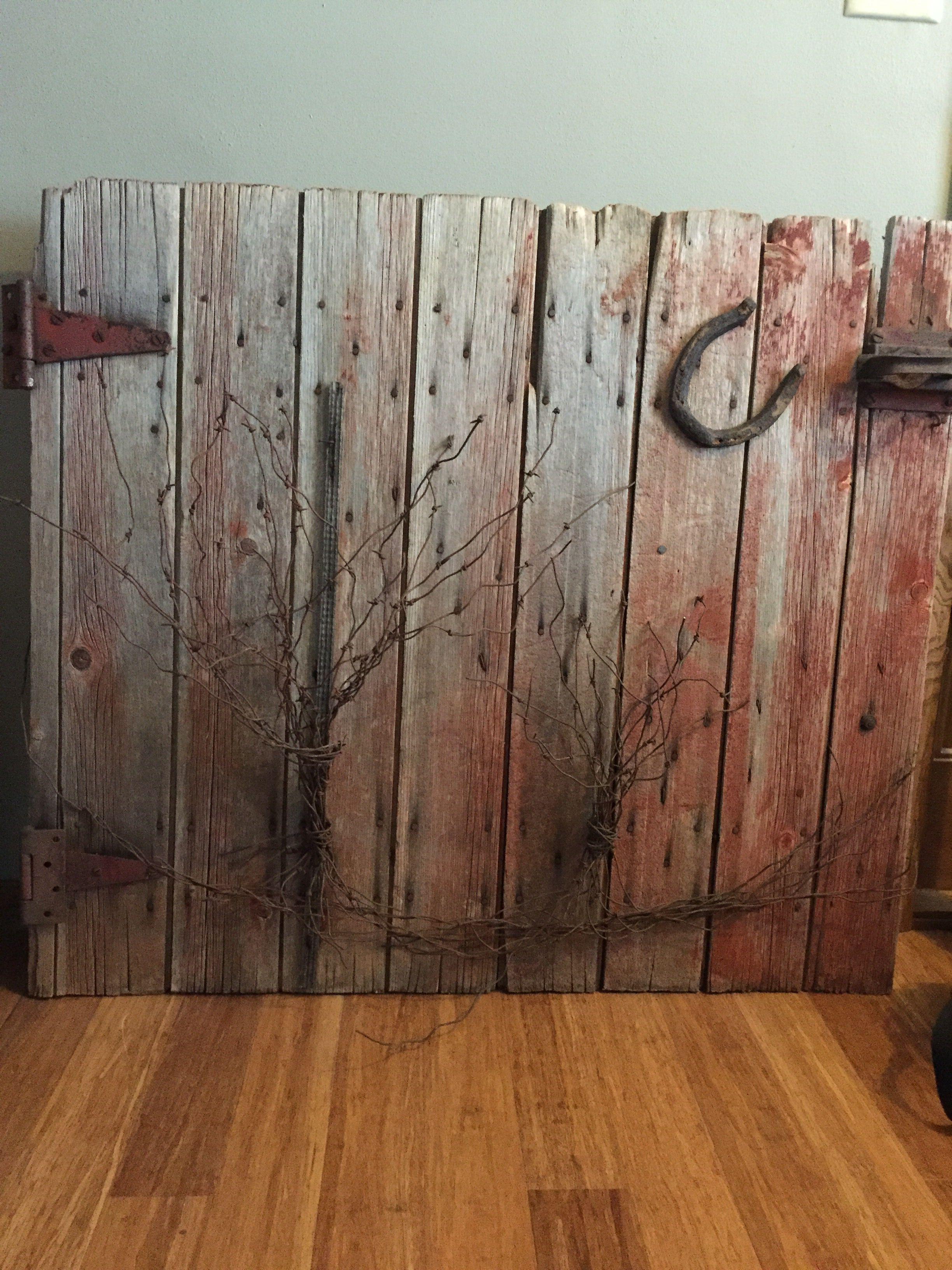 Old barn door turned rustic wall decor rusticinteriorstairs
