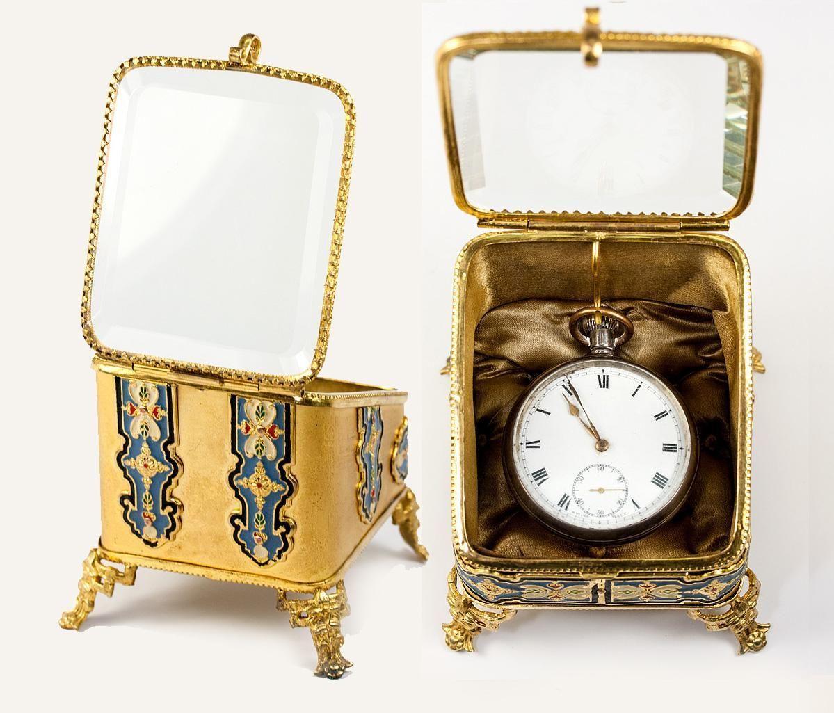 Antique French Pocket Watch Box, Jewelry Casket with Kiln-fired Enamel, Beveled Glass