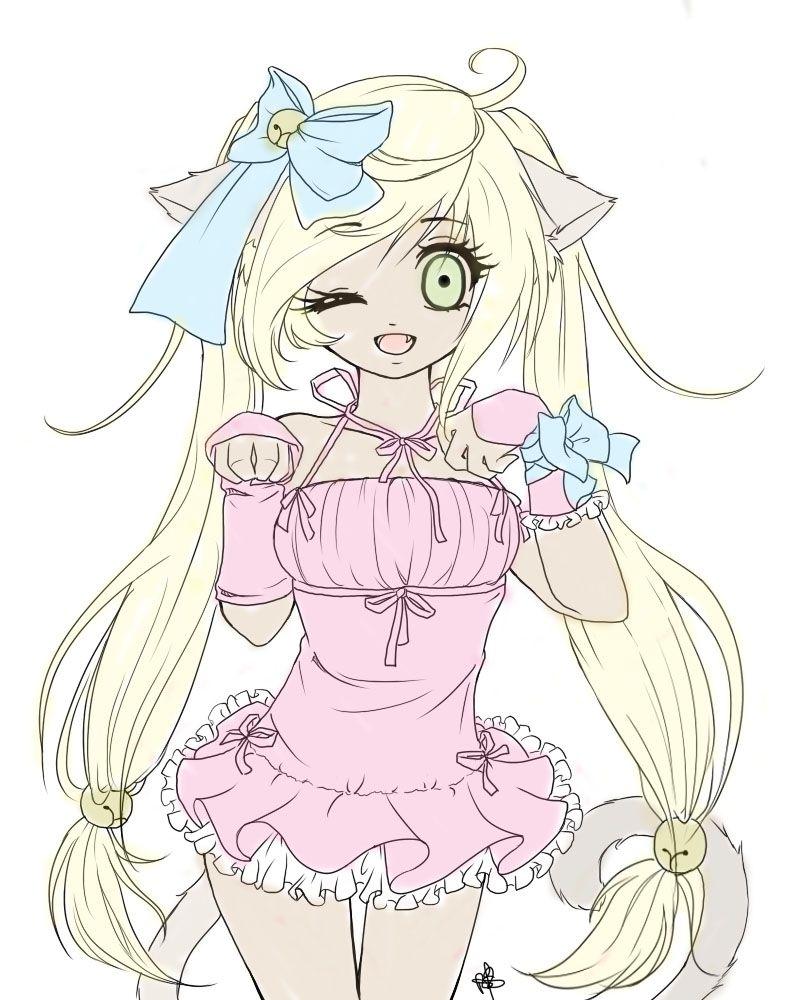 anime neko girl color edit Pictures Anime