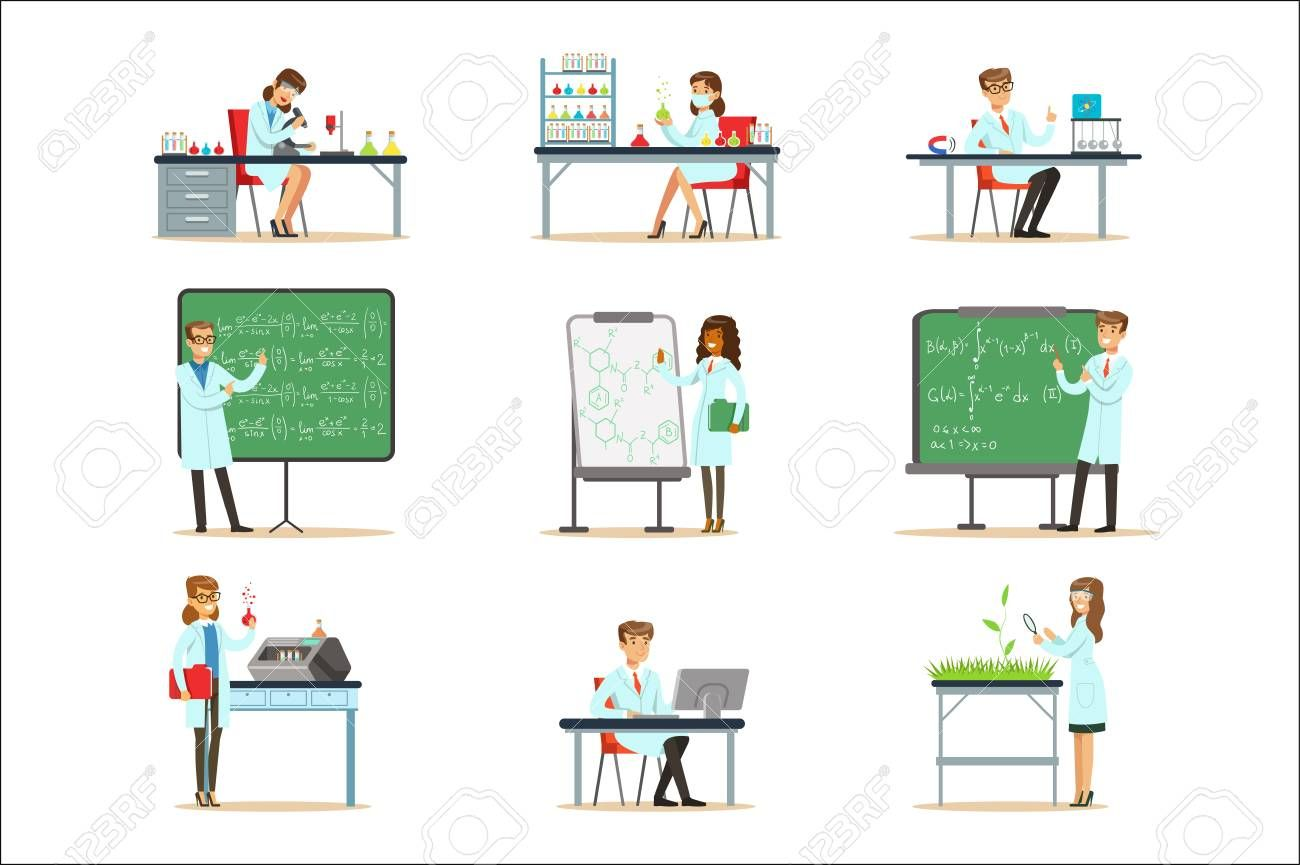 Scientists At Work In A Lab And An Office Series Of Smiling People Working In Academic Science Doing Scientific Research. Men And Women In White Lab Coats Running Experiments In Laboratory Vector Illustrations. , #spon, #People, #Smiling, #Working, #Science, #Academic