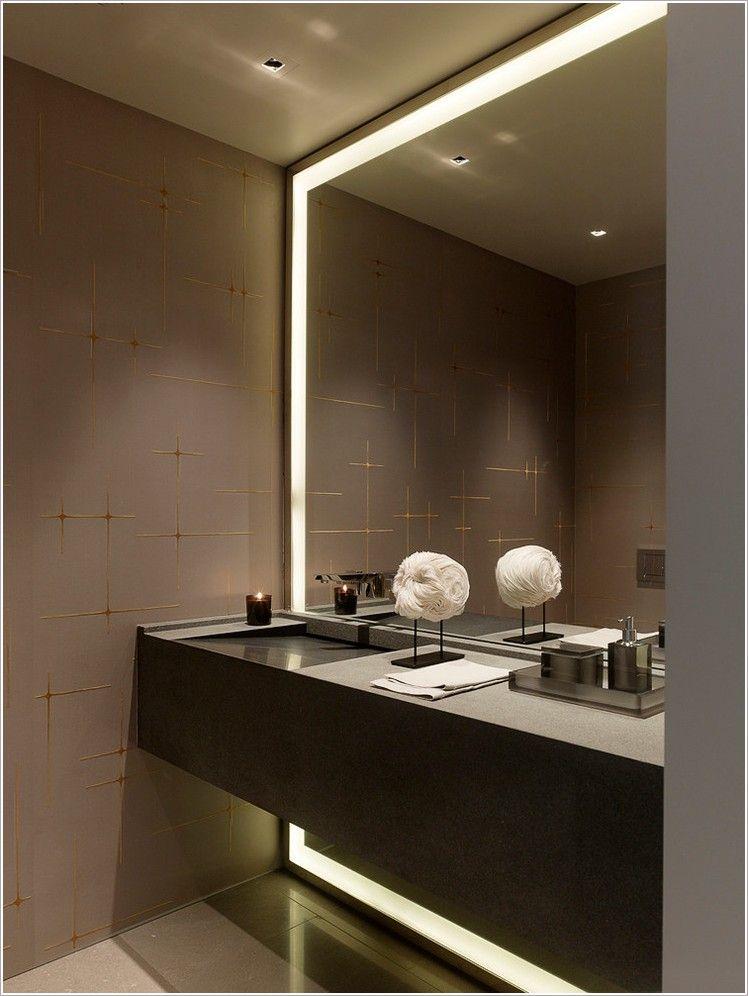 Lighted Bathroom Wall Mirror In Sink Floating Cabinet Gray Large Lighted Mirror Modern Bathroom Iluminacao Banheiro Banheiro Grande Banheiro