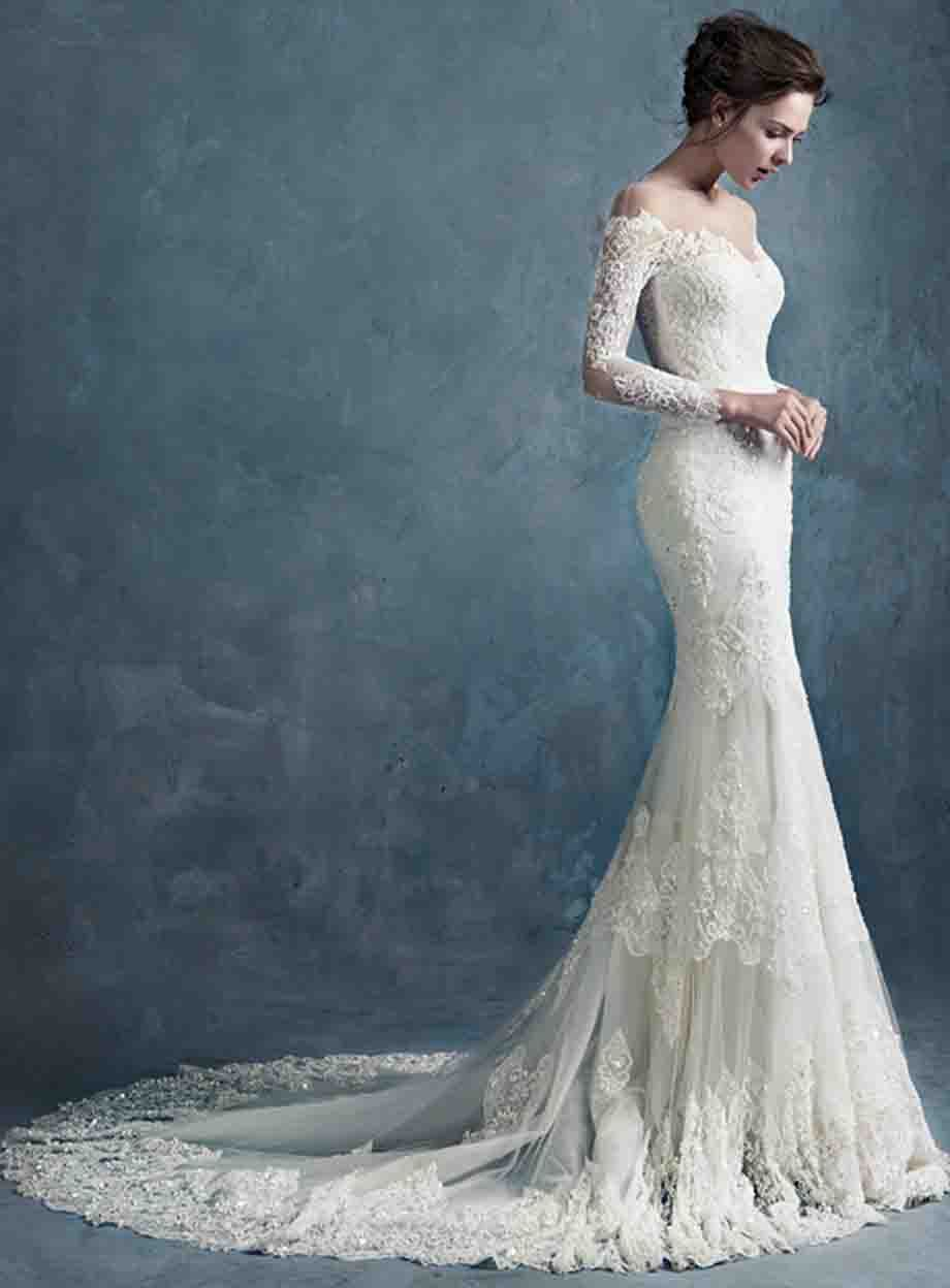 straight neck ball gown wedding dress