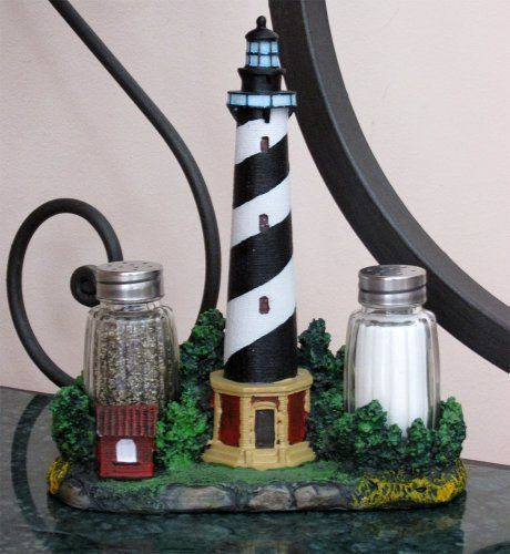 Nautical Cape Hatteras Lighthouse Glass Salt And Pepper Shaker Set Figurine With Holder In Decorative Kitchen Decor Lighthouse Decor Nautical Decor Lighthouse