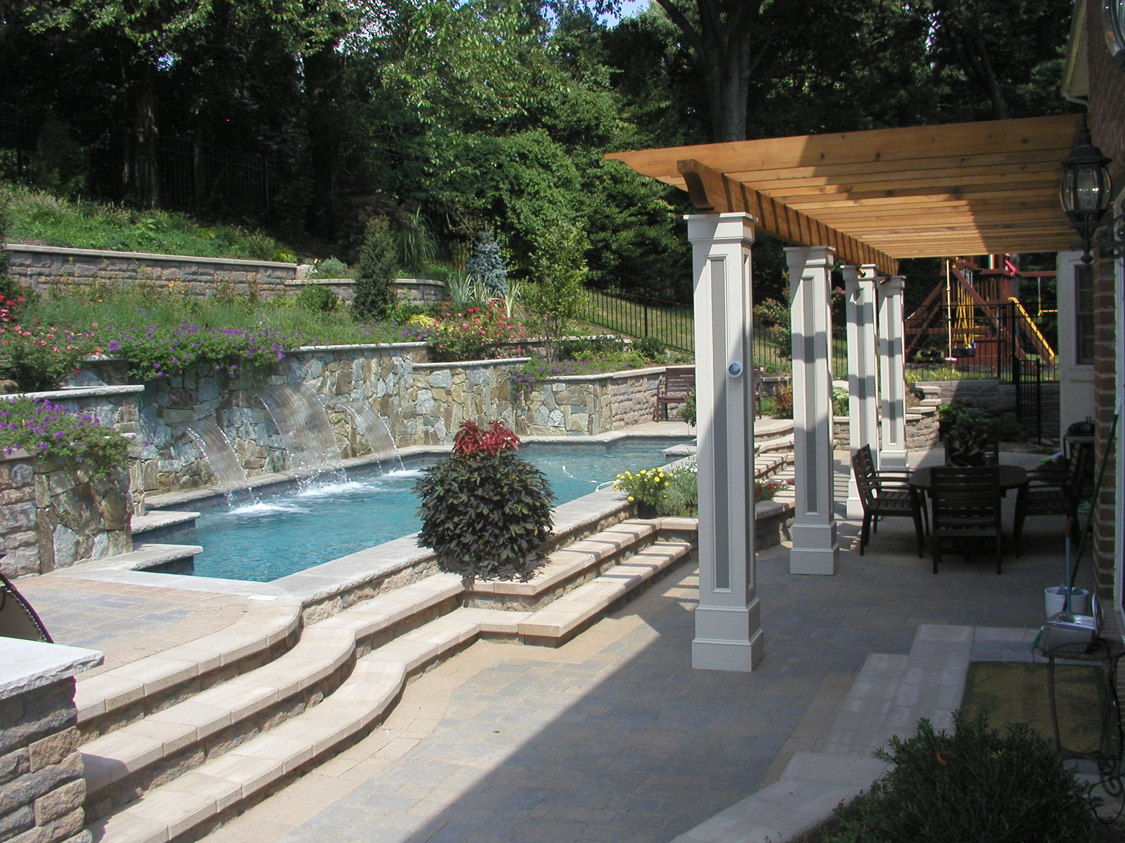 Hillside Landscaping and Pool in Chevy Chase MD Land & Water