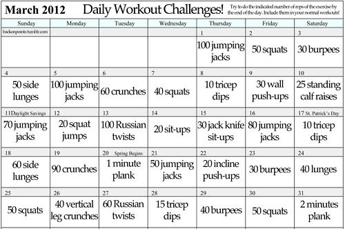 Daily Workout Challenge Maybe Ill Do This For May