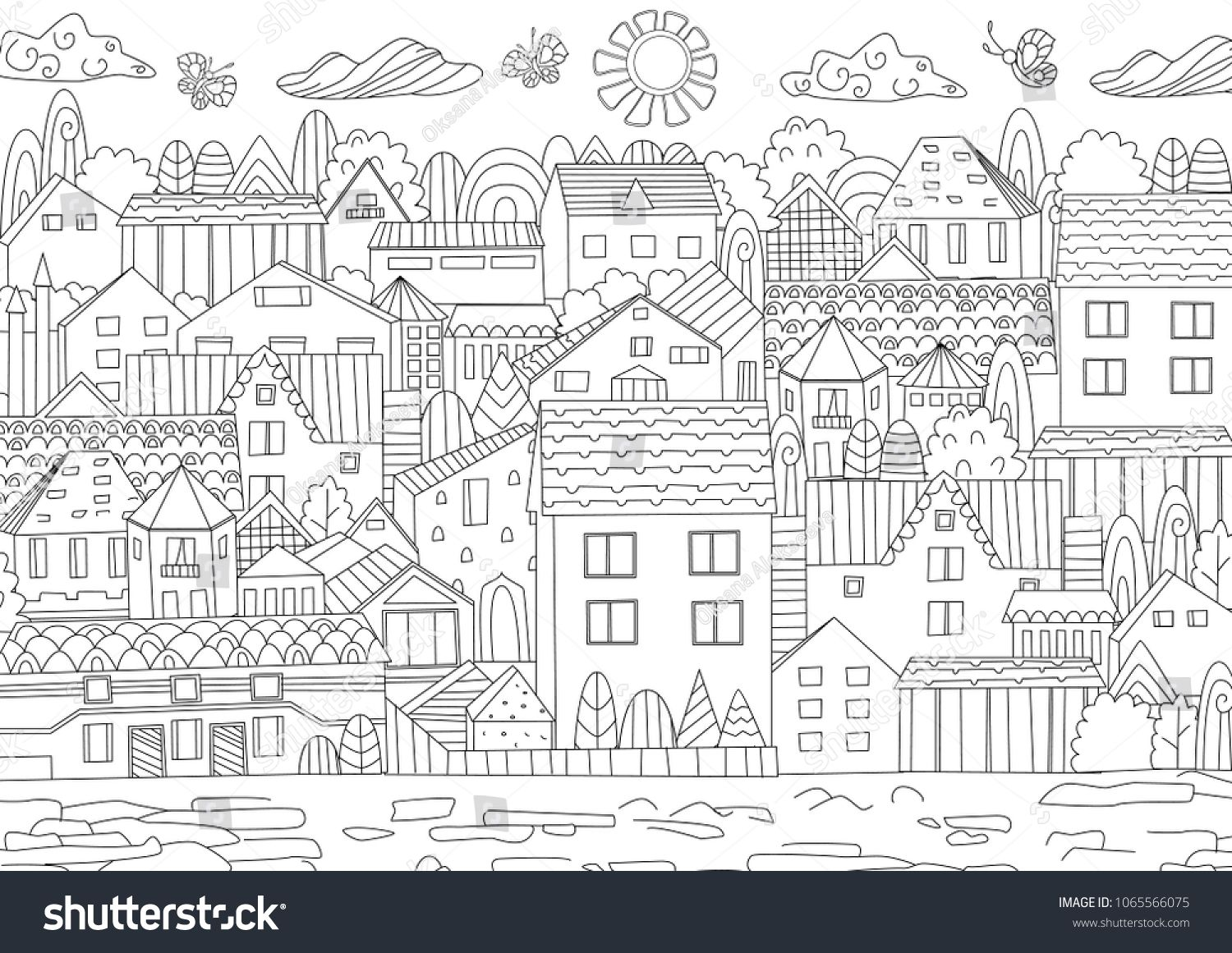 Cozy Cityscape For Your Coloring Bookcityscape Cozy Book Coloring Coloring Books Cityscape Print Designs Inspiration