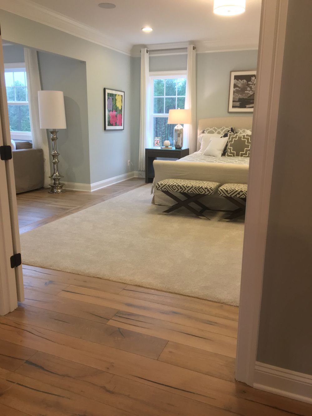 Carpet inlay in master bedroom. light hardwood floor--dark ...