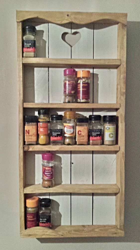 Wooden Rustic Cottage Spice Rack 5 Tier Storage Wall