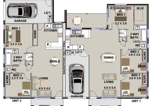 Corner Lot Duplex House Plans S 3d58aca8de76efa7 Jpg 500 344 Pixels Duplex Floor Plans House Floor Plans Multigenerational House Plans