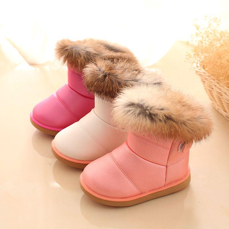 2018 Hiver Mode enfant filles bottes de neige chaussures chaudes en peluche  doux bas bébé filles bottes en cuir d hiver enfants botte de neige pour bébé 0f3a084e462f