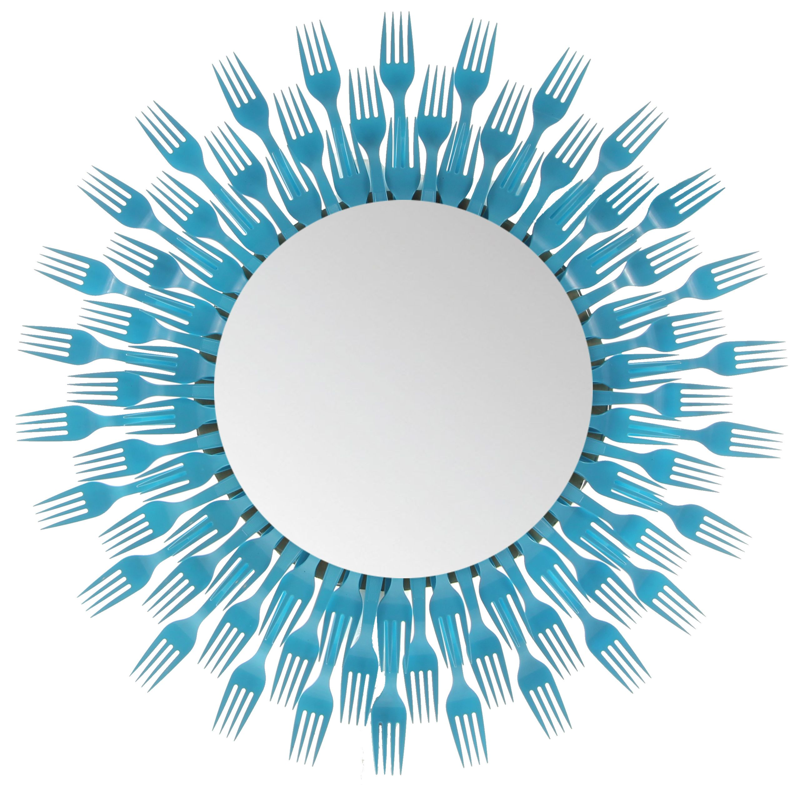 Plastic fork round mirror 3 level forked up art for Crafts with plastic spoons and forks