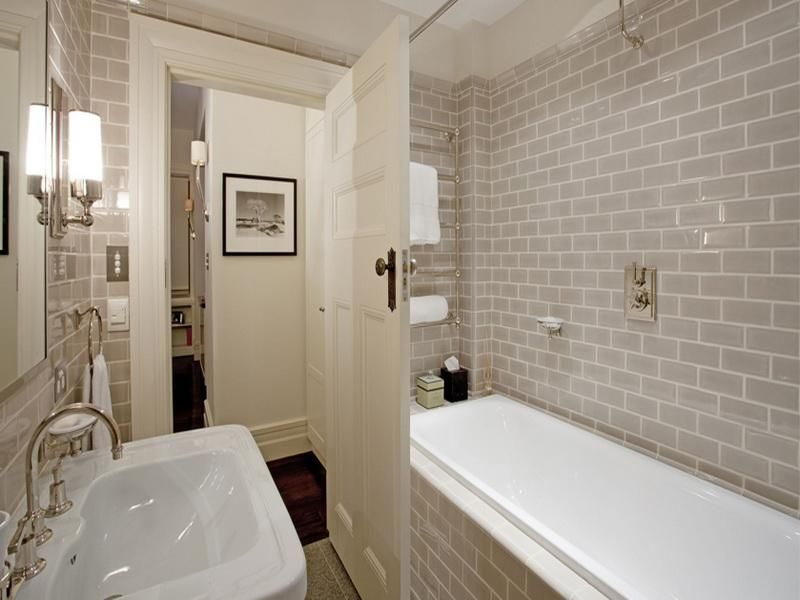 Small Tiles Walls White Bathroom Interior Art Deco Apartments
