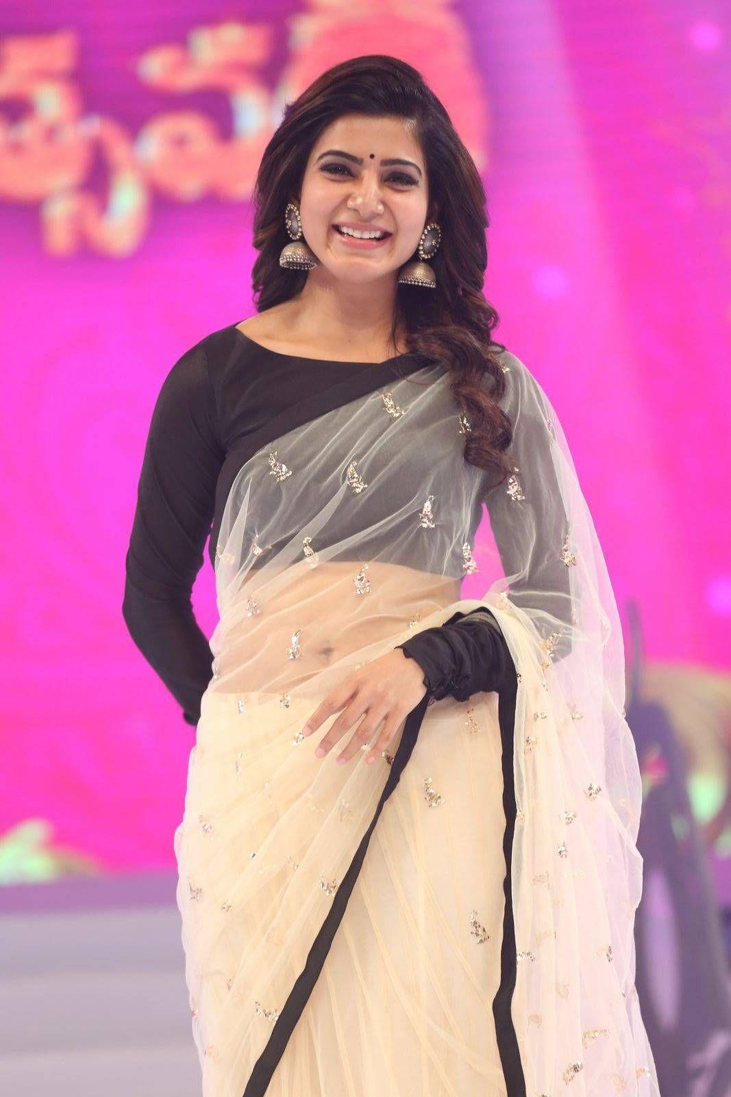 Beautiful Kannur Girl Poorna In Transparent Black Saree