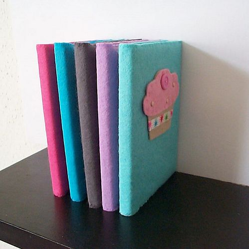 felt covered notebooks by paper-and-string-on-flickr, via Flickr