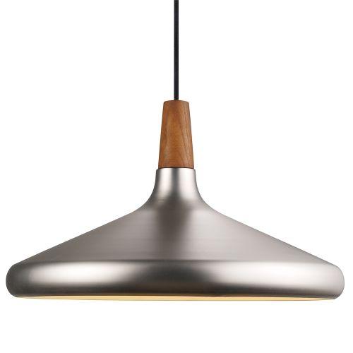 Nordlux Float 39 Brushed Steel and Oiled Walnut Pendant | Pendulum Fittings | Lounge & Hall Lighting | Dusk Lights - Modern Home Lighting