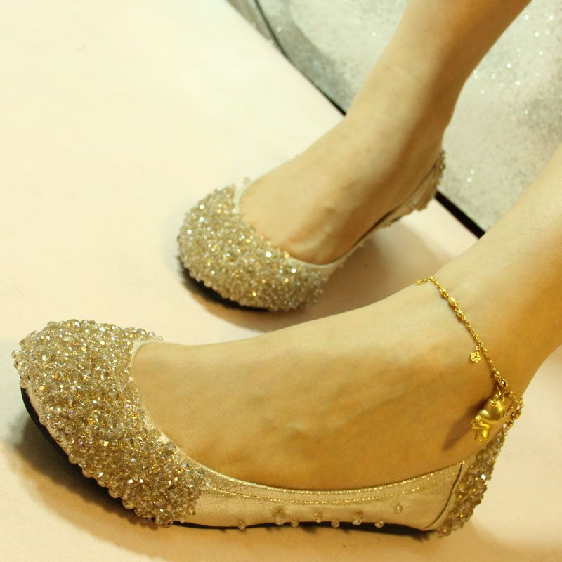 Bridal shoes 2012 shoes rhinestone beaded wedding shoes flat flats ...