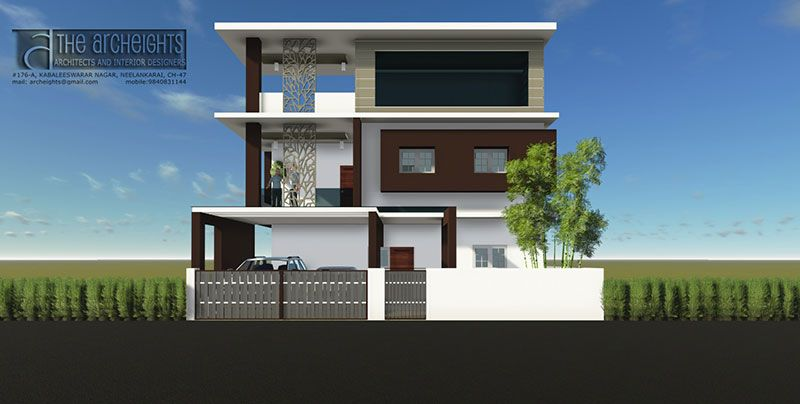 Archeights independent house elevation designs south india for Individual house front elevation