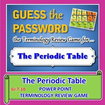 Periodic table guess the password terminology review game the periodic table password terminology review game editable password terms element urtaz Choice Image