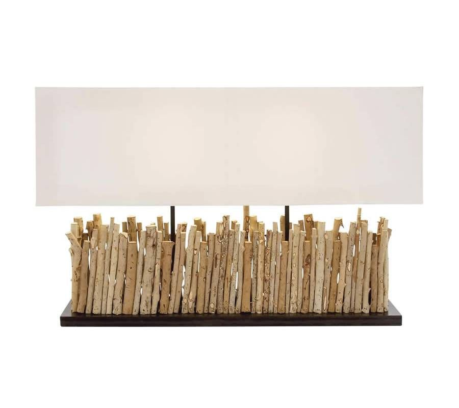 Rectangular Driftwood Metal Table Lamp with Off White Shade - Perfect for the modern home, this lamp will capture the attention and heart of one and all. Additionally, it has been made using quality materials